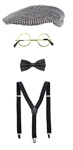 Kostüm Blind Brille - SeeMeInThat Peaky Blinders 20''s Tommy Shelby Hirsch-Kostüm, Flachmütze, Brille, Schwarze Fliege, Schwarze Hosenträger Detective, Oldman Gangster Herren-Kleiderset