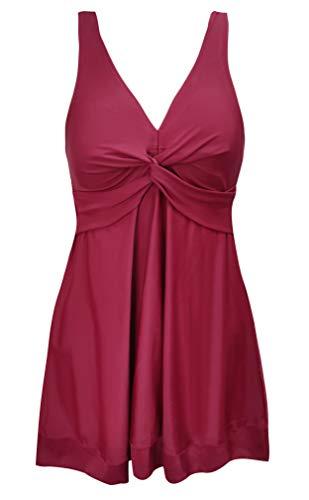 SHEKINI Damen Badeanzug Blumendruck Tankini mit Shorts Schwarz Badekleid Bauchweg V-Ausschinitt Frauen Große Größe Ärmellos Monokini (XX-Large, Weinrot-2)
