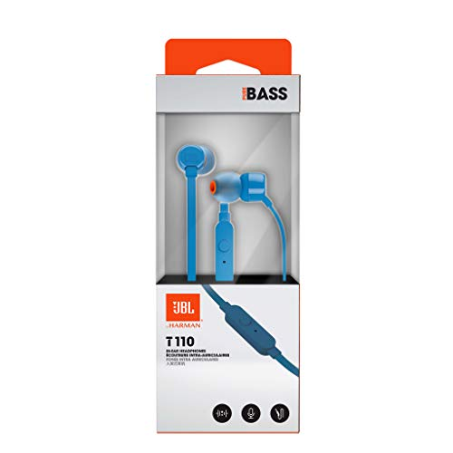 JBL T110 in-Ear Headphones with Mic (Blue) Image 8