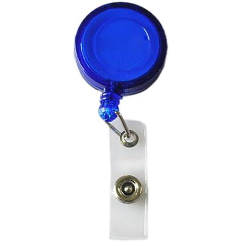 Nuove 10x (a scomparsa Porta Pass Ski ID distintivo della carta di bobine catena chiave con la clip blu scuro - Id Bobina