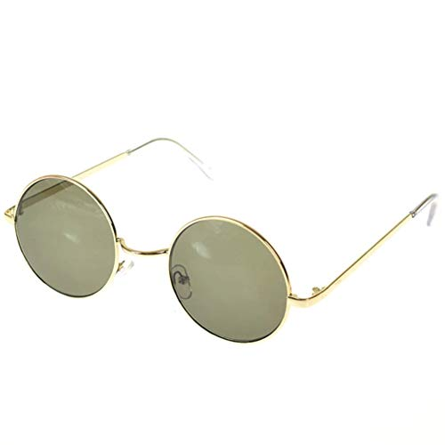 EROSPA® Retro Vintage Sonnenbrille - John Lenon Style - Runder Metallrahmen - Unisex Damen / Herren (Grün / Gold)