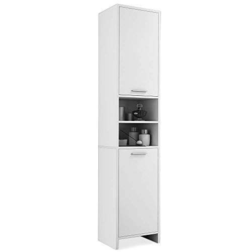 Hochschrank Bad 185 x 30 x 30cm Badschrank Badezimmerschrank Weiß 6 Fächer 2 Türen mit Magnetverschluss Schmal Hoch