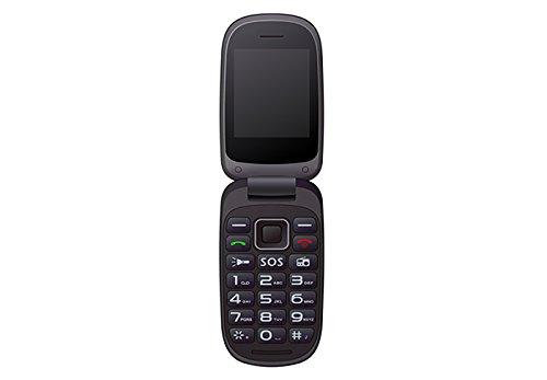 Qubo Xoel Senior Smartphone de 2.4' (memoria de 32 MB, cámara de 0.3 MP, batería de 750 mAh, GPRS) Negro (Negro/Rojo)