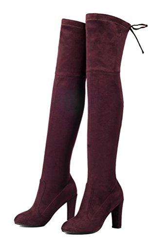 YE Damen Spitze Stretch Overknee Blockabsatz Stiefel Wildleder High Heels Plateau Winter Boots mit Schnürung 9CM Absatz schuhe Weinrote