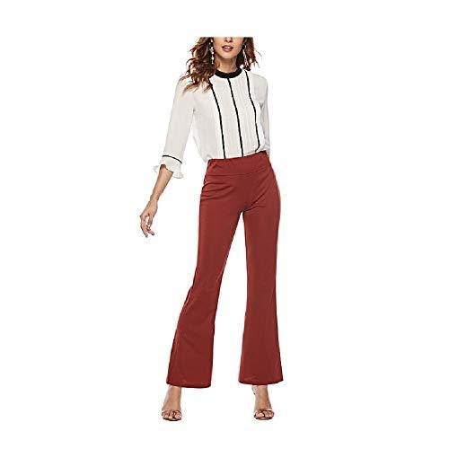 Fuxitoggo Slim Split-Gabel Micro Bell Bottom Pants Hohe Taille Elastische Hose für Frauen (Farbe : Rotwein, Größe : S) -