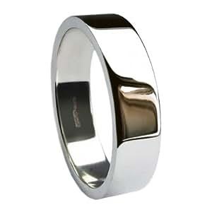 QUALITY UK Palladium 500 Heavy 8mm Flat Profile Wedding Ring 7.4g Size Q