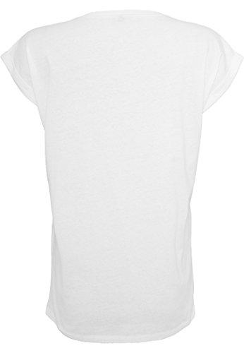 Damen Ladies Extended Shoulder Tee T-Shirt Sommershirt Damenshirt Unicorn Queen Einhorn Einhornköniginnen sind geboren (weiß) April