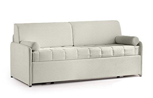 Materassi.com divano letto rondò con rete estraibile, robusto e pratico, rivestimento antimacchia grigio chiaro ghiaccio
