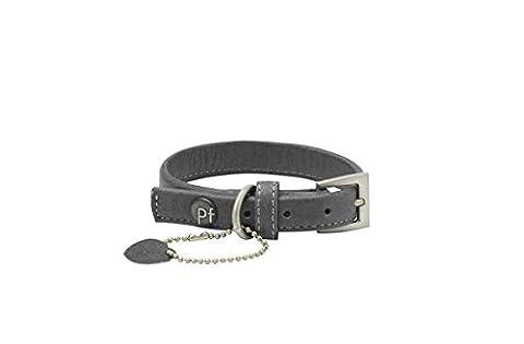 Petface Signature Leather Dog Collar, X-Small, Grey