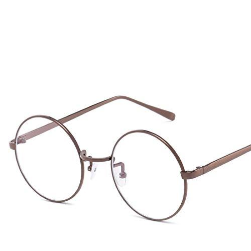 Mkulxina Anti-Blue-Light-Brille Retro Runde Metall Unisex Flache Brillen für Frauen Männer (Color : Brass, Design : Clear Lens)
