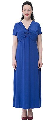 FEOYA Femme Longue Maxi Cocktail Col V Dos Nu Jupe Grande Taille Uni Rouge Mince à Manches Courtes en Polyester Robe de Bal/Soirée Taille au choix Bleu