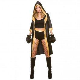 Frau Schwarz/Gold Sexy Knockout Boxer Kostüm (Klein) (Knockout Erwachsene Kostüme)