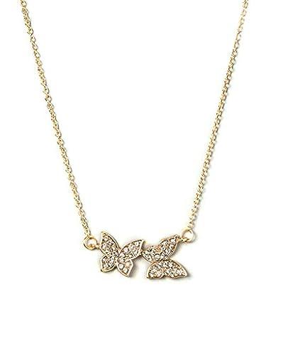 Lux Accessoires pour enfants filles Collier Bavoir papillon or