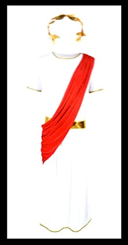 Kostüm Halloween Herrscher (Cäsar Herrscher Römer Kostüm, 3 teilig, weiß/rot/gold, Größe M)