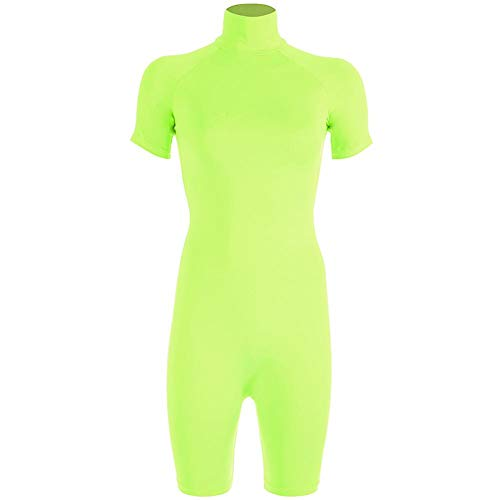 Effacer Frauen Einteilige Shorts, hochgeschlossene schlanke Fluoreszierende Sport(S-Fluoreszierendes Gelb) - Die Gelbe Taste Nach Unten Shirt