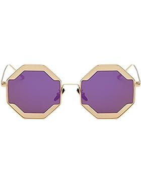 Meijunter Moda Donna metallo telaio piano occhiali a specchio lente UV400