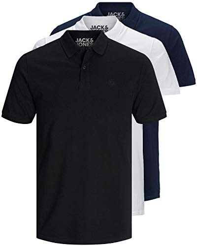 JACK & JONES 3er Pack Herren Poloshirt Slim Fit Kurzarm schwarz weiß blau grau XS S M L XL XXL einfarbig 12171776 (3er Pack Mix3, XL)