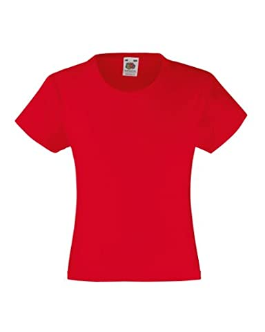 Fruite of the Loom Mädchen Valueweight T-Shirt, Rot, Gr.152