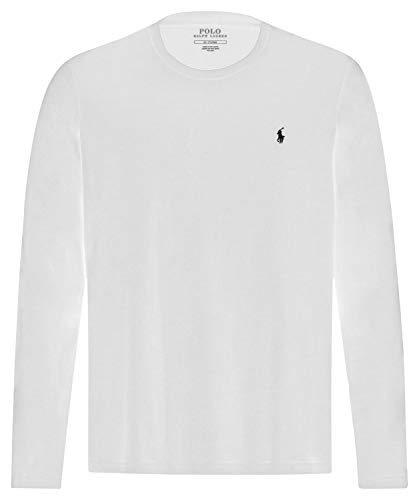 Polo Ralph Lauren Longsleeve Crew Neck Shirt Langarm Shirt Sleep Top XL White (004) - Fashion Long Sleeve Crew Neck
