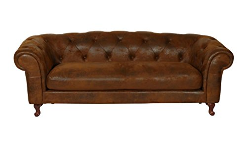 Chesterfield Rom 3 Sitzer braun Lederoptik Textil Sofa Outlet