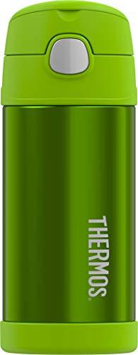 THERMOS 4030.601.035 Isolierflasche FunTainer, Edelstahl Grün 0,35 l, inkl. Trinkhalm, BPA-Free, 12 Stunden kalt