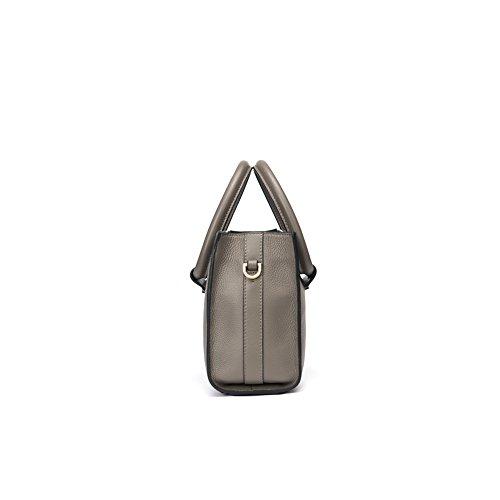 Yvonnelee Hochwertige Echtes Leder Tote Handtasche Henkeltasche Tasche Schultertasche Damen Grau