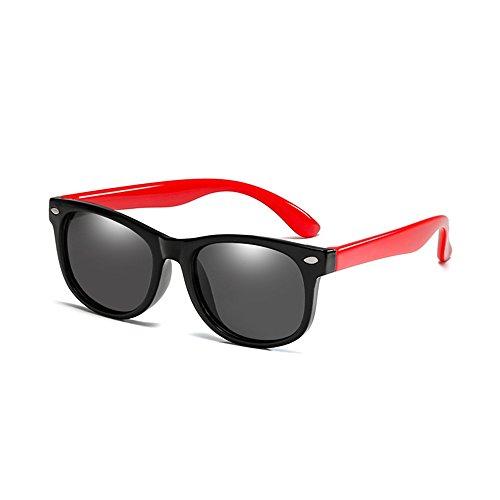 Long Keeper Kinder polarisierte klassische Retro Sonnenbrille für Baby, Kleinkind, Kinder, Jungen und Mädchen (Schwarz Rot)