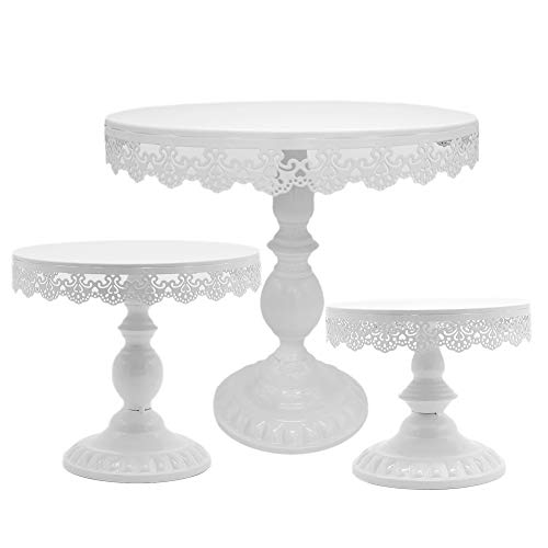 3PCS/Set 8/10/12 inch Grand Baker Cake Stand Wedding Cake Tools Adjustable Height Fondant Cake Display Accessory for Party bakeware (White)