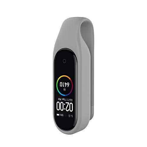 Kcdream Ersatzclip für Xiaomi Mi Band 4/mi Band 3, Xiaomi Band 4 Smart Watch Silikon-Clip Sehr Elegant Dekoriert auf Kleidung, Taschen, Gürtel, Schuhe - Grau (Watch Clip Auf Gurt)