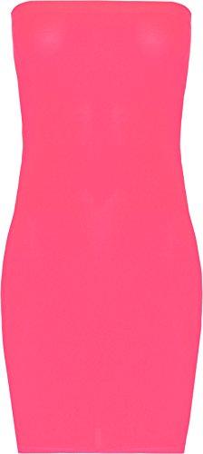 WearAll - Damen Brust Tube Strecke Bodycon Kurz Ärmellos Top Hässlich Mini Kleid - 9 Farben - Größe 36-42 Fluoreszierend Rosa