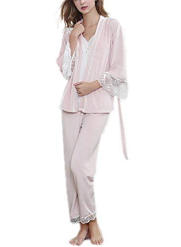 (CWXDIANPyjama Nachthemd Bademantel Anzug Damen Pyjama langärmeligen Pyjama, blass rosa)