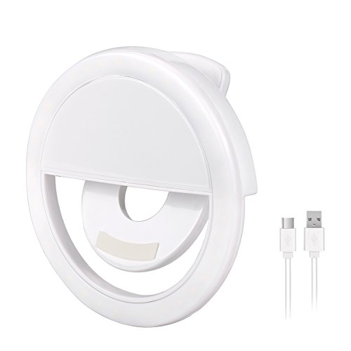 Olliwon Selfie Ring Light, Wiederaufladbare Strahler Selfie Licht LED Strahler Flash Selfie Licht Ring Kamera Foto Video Licht Lampe Handy - weiß Led Ring Flash