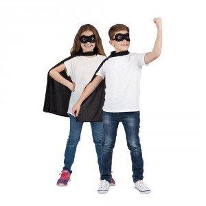 Schwarz Kinder Super Hero Umhang & Maske für Kinder Superheld Kostüm Verkleidung (Zubehör Superhelden)