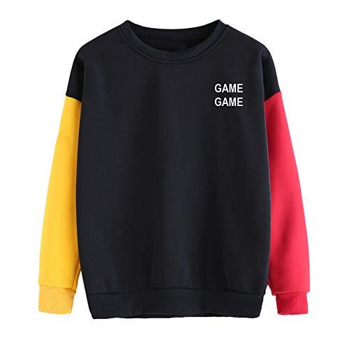 (Damen Hoodies Farbblock Pullover, MYMYG Damen Langarm Sweatshirt Pullover Tops Bluse Sweatshirt Buchstabe Druck Spitzenbluse Top (B2-rot,EU:38-40/CN-M))