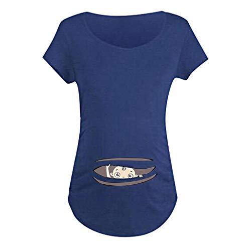 Schwangerschaft T-Shirt Damen Sommer Kurzarm Umstandsmode T-Shirts Cute Mutterschaft Kleidung Lustige Witzig Spähen Baby Gedruckt Baumwolle Mutterschaft Tops -