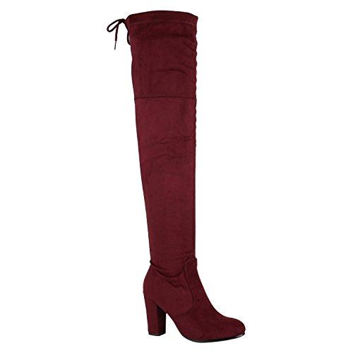 Stiefelparadies Modische Damen Stiefel Profil Sohle Overknees Block Absatz Schuhe 150323 Dunkelrot Schleifen 40 Flandell