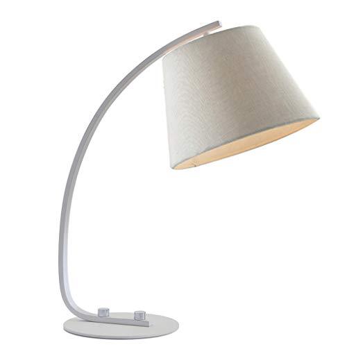 WANG XIN Stoff Tuch Lampenschirm Schreibtischlampe Taste Schalter Buch Einstellbare Design Zimmer Schlafzimmer Nacht Student Kinder Studie Schreibtisch Lesen Tischlampe (Farbe : Weiß) -