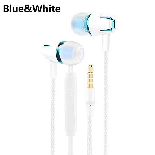obiqngwi Auriculares de Moda en la Oreja Bajo Pesado Enchufe de 3.5mm Universal Auriculares WiRojo con Micrófono - Azul