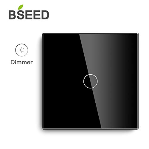 BSEED Dimmer Schalter Led Dimmer Touch Lichtschalter 1-fach 2 weg Glas Touch Schalter Touchscreen-Funktioniert mit dimmer LED-Glühlampen Schwarz