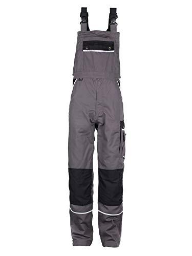 TMG® Komfortable Herren Latzhose | Männer Arbeitslatzhose mit Reflektoren und Taschen für Kniepolster | Handwerker, Elektriker, Mechaniker | Grau 48