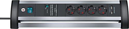 Brennenstuhl Alu-Office-Line, Steckdosenleiste 4-fach, Überspannungsschutz, für den Schreibtisch (1,8m Kabel, 2-fach USB) Farbe: alu / schwarz - 4 Fach Desktop