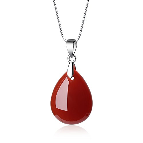 coai Geschenkideen 925 Sterling Silber Halskette aus Achat Rot Träne der Engel und Wassertropfen Anhänger für Damen und Mädchen (Jade Rot)