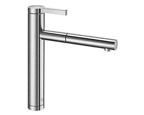 Blanco Linee-S, Küchenarmatur - Einhandmischer, exklusiver Wasserhahn mit ausziehbarer Brause, Massiv-Edelstahl in Seidenmatt-Finish, Hochdruck, 1 Stück, 517593 (2 Stück-standard-möbel)