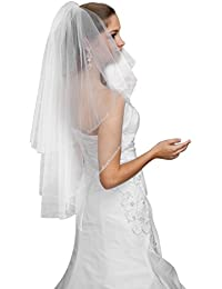 2T Wedding Bridal Elbow Length Veil with Comb - CRYSTALS