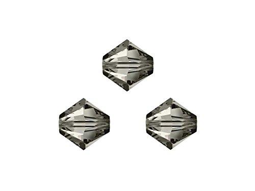 Creative-Beads Swarovski Perlen, Doppelkegel, konisch, bicone, 5328, 4mm, 50 Stück, crystal Satin, zum selber machen von Ketten, Armbänder und Ohrringe