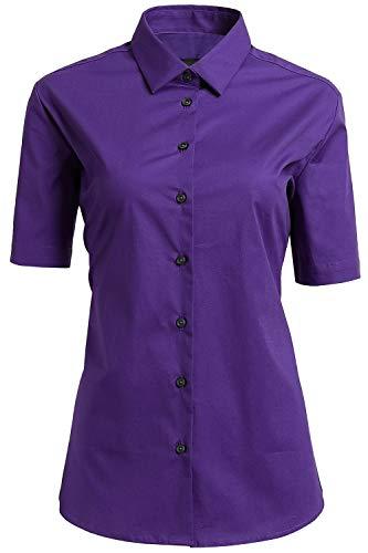 2dcf386f4b Mujer Camisa Manga Corta, Camisa Blusa Básica Casual de Algodón Informal  Formal, Ideal para Oficina/Trabajo/Entrevista (Viola, EU42)