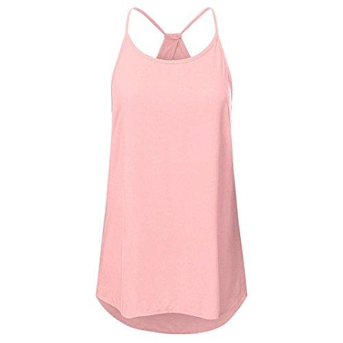 JURTEE Damen Sommer Damen Solide Aushöhlen Sleeveless Camisole Kreuz Weste Pullover Tank Tops Shirt Bluse Crop Top Oberteile(Rosa,2XL