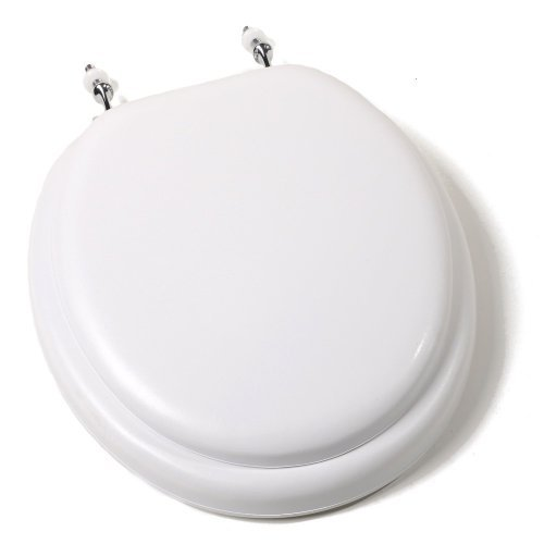 Comfort Seats C1B5R200CH Deluxe Soft Toilet Seat with Wood Cores and Chrome Hinges, Round, White by Comfort Seats