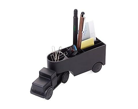 Troika Office Trucker GAM06/MB Pen Holder with Paper Clip Holder–Paperweight–Truck–Friction Motor, AXLE–Magnet–Paper Clips–Original Cast Metal Matt