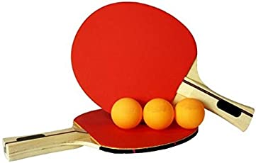 CSU 2 Table Tennis Rackets with 3 Balls (Red and Black)
